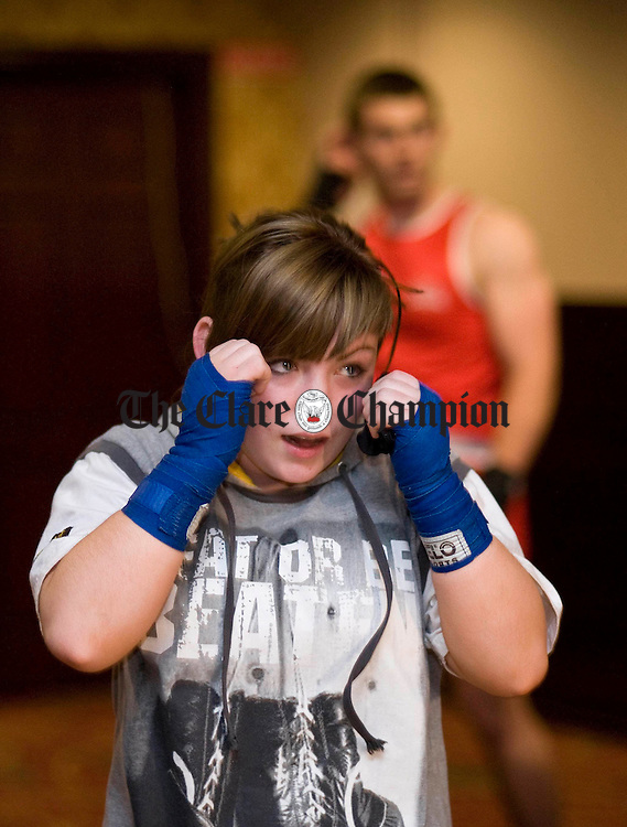 Clare's Antoinette Keane warms up ahead of her bout at Clare Boxing's fiftieth anniversary tournament at the West County Hotel. Photograph by Declan Monaghan