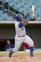 Yasiel Puig #8 of the Rancho Cucamonga Quakes bats against the Lancaster JetHawks at Clear Channel Stadium on August 22, 2012 in Lancaster, California. Rancho Cucamonga defeated Lancaster 8-7. (Larry Goren/Four Seam Images)