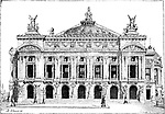 Paris Opera, in Paris, France, built from 1861 to 1874 and opened in 1875, vintage engraved illustration. Dictionary of Words and Things - Larive and Fleury - 1895