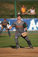 Bret Boswell (13) of the Boise Hawks in the field at shortstop during a game against the Everett AquaSox at Everett Memorial Stadium on July 20, 2017 in Everett, Washington. Everett defeated Boise, 13-11. (Larry Goren/Four Seam Images)