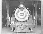 Front end view of K-37 #497 in Durango roundhouse stall.<br /> D&amp;RGW  Durango, CO  Taken by Payne, Andy M. - 8/8/1968