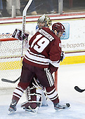 Emerson Auvenshine (UMass - 19), Parker Milner (BC - 35) - The Boston College Eagles defeated the University of Massachusetts-Amherst Minutemen 3-2 to take their Hockey East Quarterfinal matchup in two games on Saturday, March 10, 2012, at Kelley Rink in Conte Forum in Chestnut Hill, Massachusetts.