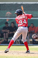 Boston Red Sox minor league player Felix Sanchez #34 during a spring training game vs the Baltimore Orioles at the Buck O'Neil Complex in Sarasota, Florida;  March 22, 2011.  Photo By Mike Janes/Four Seam Images
