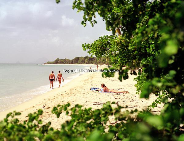 A view of the Caribbean sea at Sainte-Anne Beach. The village of Sainte Anne is the southernmost village on Martinique. Sainte Anne, Martinique. Eastern Caribbean.