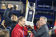Annapolis, MD - December 27, 2016: Wake Forest Demon Deacons head coach Dave Clawson accepts the trophy after game between Temple and Wake Forest at  Navy-Marine Corps Memorial Stadium in Annapolis, MD.   (Photo by Elliott Brown/Media Images International)