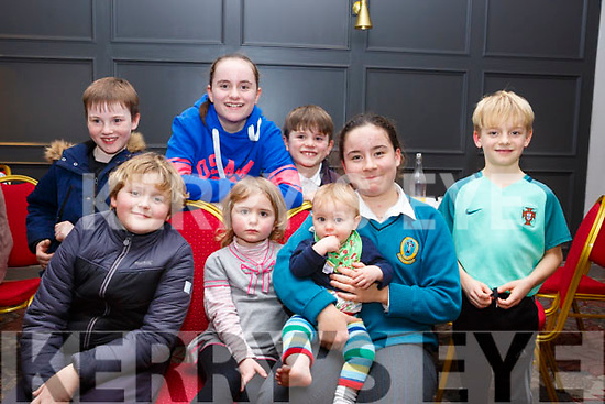 Attending the Tralee Rugby Quiz night in the Ashe Hotel on Friday night last,<br /> Seated l-r, Harry Murphy, Kate Kirby, Finn Kirby, Gillian Lane and Danny Lane.<br /> Standing l-r, Halley Cotter, Grace Kirby and Billy Kirby.