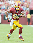 Washington Redskins tight end Jordan Reed (86) carries the ball after making a catch in second quarter action against the Detroit Lions at FedEx Field in Landover, Maryland on Sunday, September 22, 2013.<br /> Credit: Ron Sachs / CNP