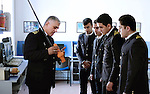 Baku - Azerbaijan - 08 December 2014 -- Azerbaijan State Marine Academy. -- Instructor and teacher Sadigov Asaf during a lesson on Global maritime distress safety Systems showing to students Guliyev Ismail (20), Mehdiyev Mehemmed (20), Tairov Samir (20) and Osmanli Ekhtiram (20) the functions of a EPIRB / SART transmitter. -- PHOTO: Sitara Ibrahimova / EUP-IMAGES