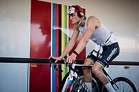 Mathieu van der Poel (NED/Corendon-Circus) testing his mean face during warm-up<br /> <br /> Azencross Loenhout 2019 (BEL)<br />  <br /> ©kramon