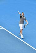 11th January 2018, Sydney Olympic Park Tennis Centre, Sydney, Australia; Sydney International Tennis,quarter final; Adrian Mannarino (ITA) prepares to serve in his match against Fabio Fognini (ITA)