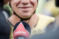 pre race interview with eventual winner Dylan Groenewegen (NED/Lotto NL - Jumbo)<br /> <br /> 103th Kampioenschap van Vlaanderen 2018 (UCI 1.1)<br /> Koolskamp &ndash; Koolskamp (186km)