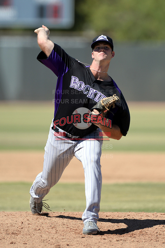 Colorado Rockies pitcher Ryan Arrowood (30) during an instructional league game against the Milwaukee Brewers on October 1, 2013 at Maryvale Baseball Park Training Complex in Phoenix, Arizona.  (Mike Janes/Four Seam Images)