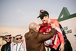 Phil Bauhaus (GER) Bahrain-Mclaren wins Stage 3 and also takes over the Red Jersey of the Saudi Tour 2020 running 119km from King Saud University to Al Bujairi, Saudi Arabia. 6th February 2020. <br /> Picture: ASO/Pauline Ballet | Cyclefile<br /> All photos usage must carry mandatory copyright credit (© Cyclefile | ASO/Pauline Ballet)