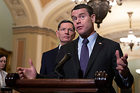 Senator Todd Young, Republican of Indiana, speaks during a press conference following a Republican Caucus lunch on Capitol Hill in Washington, D.C. on March 12, 2019. <br /> CAP/MPI/RS<br /> &copy;RS/MPI/Capital Pictures