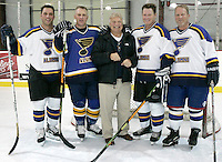 (Sunday, December 03, 2006)-From left, Bart Hull,  Brett Hull, their father Bobby Hull, Bobby Hull, and Blake Hull pose for photographs after the St. Louis Blues Alumni Hockey Game at the Summit Center in Chesterfield. The Hull brothers all wore #16 in honor of the retirement of Brett Hull's number
