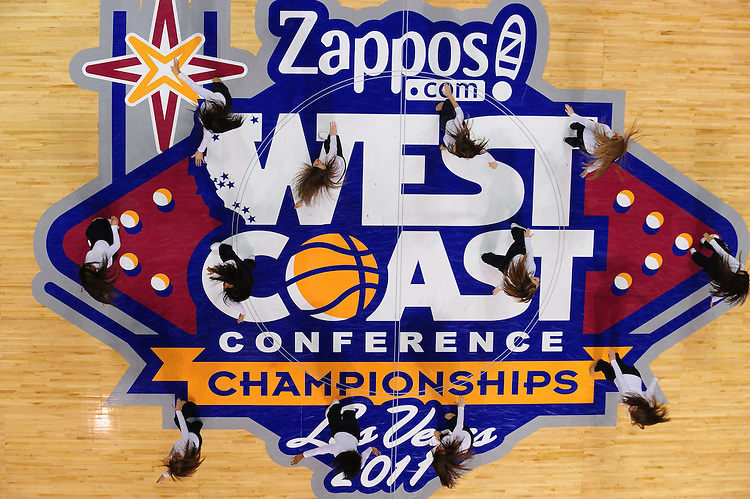 March 6, 2011; Las Vegas, NV, USA; San Diego Toreros dance team members perform against the Saint Mary's Gaels during the WCC Basketball Championships semifinal game at Orleans Arena. The Gaels defeated the Toreros 71-68.