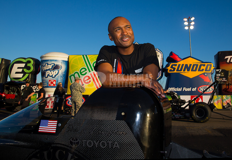 Feb 8, 2015; Pomona, CA, USA; NHRA top fuel driver Antron Brown reacts after losing in the final round of the Winternationals at Auto Club Raceway at Pomona. Mandatory Credit: Mark J. Rebilas-USA TODAY Sports