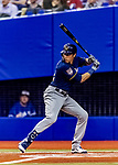 25 March 2019: Milwaukee Brewers outfielder Christian Yelich at bat in the first inning of an exhibition game against the Toronto Blue Jays at Olympic Stadium in Montreal, Quebec, Canada. The Brewers defeated the Blue Jays 10-5 in the first of two MLB pre-season games in the former home of the Montreal Expos. Mandatory Credit: Ed Wolfstein Photo *** RAW (NEF) Image File Available ***
