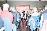 Republican presidential candidate Carly Fiorina speaks at a town hall campaign event at LaBelle Winery in Amherst, New Hampshire.