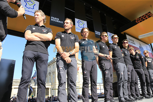 Trek-Segafredo team at the Team Presentation for the upcoming 115th edition of the Paris-Roubaix 2017 race held in Compiegne, France. 8th April 2017.<br /> Picture: Eoin Clarke | Cyclefile<br /> <br /> <br /> All photos usage must carry mandatory copyright credit (&copy; Cyclefile | Eoin Clarke)