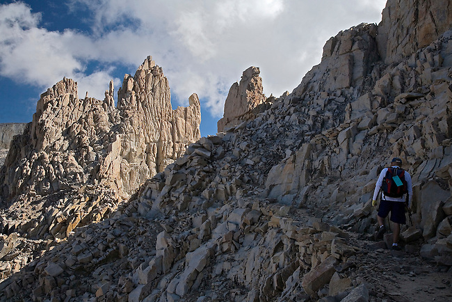 SOLO HIKER ON WAY UP TO MT. WHITNEY, CALIFORNIA