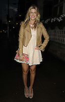 Francesca 'Cheska' Hull.attended the Kensington Club new boutique nightclub launch party, The Kensington Club, High Street Kensington, London, England,.20th July 2012..full length brown tan beige leather jacket hand on hip pink clutch bag dress sequined sequin white cream .CAP/CAN.©Can Nguyen/Capital Pictures.