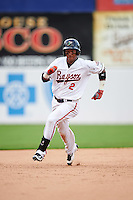 Bowie Baysox second baseman Garabez Rosa (2) running the bases during the second game of a doubleheader against the Akron RubberDucks on June 5, 2016 at Prince George's Stadium in Bowie, Maryland.  Bowie defeated Akron 12-7.  (Mike Janes/Four Seam Images)
