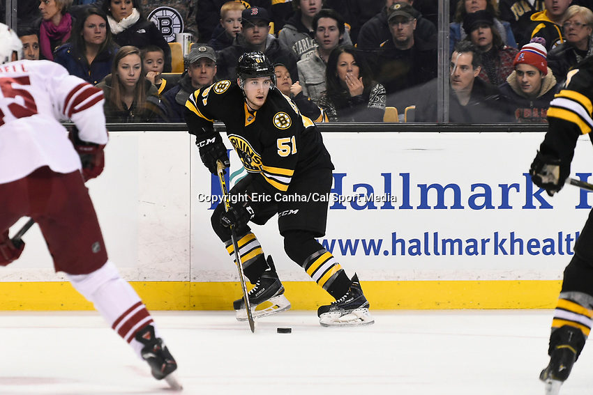 February 28, 2015 - Boston, Massachusetts, U.S. - Boston Bruins center Ryan Spooner (51) in game action during the NHL match between the Arizona Coyotes and the Boston Bruins held at TD Garden in Boston Massachusetts. Eric Canha/CSM