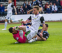 Dundee's Paul McGinn collides with Dundee keeper Kyle Letheren as they try to stop Caley's Marley Watkins.