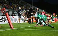 Waisake Naholo of Taranaki scores a try during the Mitre 10 Cup Ranfurly Shield Rugby Match between Taranaki and Manawatu at Yarrow Stadium, New Plymouth, Auckland,  New Zealand. Wednesday 11th October 2017. Photo: Simon Watts / www.bwmedia.co.nz