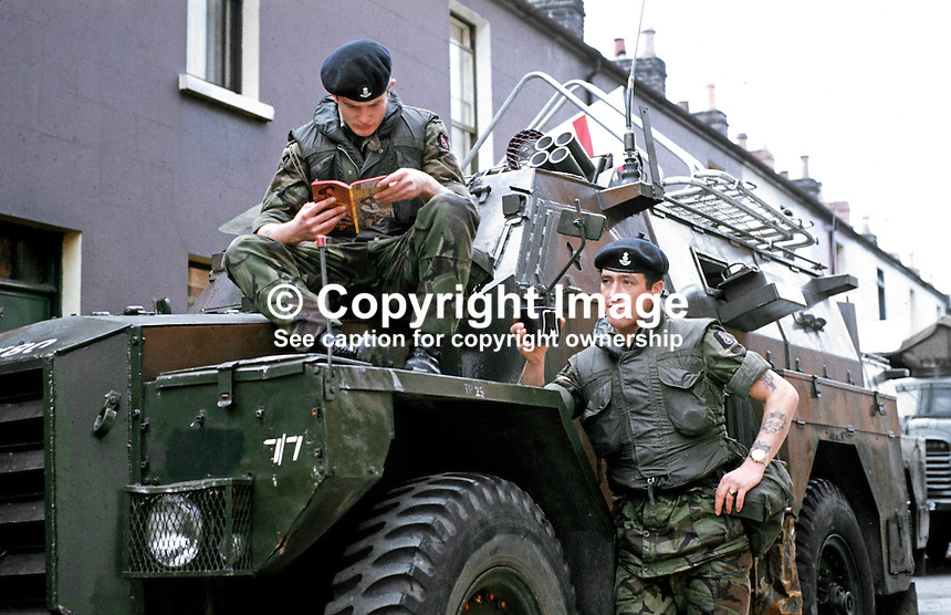 British soldiers on duty in Belfast, N Ireland, have a tea break, September, 1971, 197109000431f.<br />