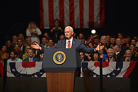 MIAMI, FL - JUNE 16: U.S. Vice President Mike Pence speaks ahead of U.S. President Donald Trump announcing policy changes he is making toward Cuba at the Manuel Artime Theater in the Little Havana neighborhood on June 16, 2017 in Miami, Florida. The President will re-institute some of the restrictions on travel to Cuba and U.S. business dealings with entities tied to the Cuban military and intelligence services.   Credit: MPI10 / MediaPunch