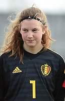 20180314 - TUBIZE , BELGIUM : Belgian Faye Lammertijn pictured during the friendly female soccer match between Women under 15 teams of  Belgium and Gemany , in Tubize , Belgium . Wednesday 14 th March 2018 . PHOTO SPORTPIX.BE / DIRK VUYLSTEKE
