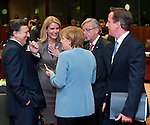 Brussels-Belgium - May 23, 2012 -- European Council, informal EU-summit meeting by Heads of State / Government; here, José (Jose) Manuel BARROSO (le), President of the European Commission; Helle THORNING-SCHMIDT (2.le), Prime Minister of Denmark; Angela MERKEL (ce), Federal Chancellor of Germany; Jean-Claude JUNCKER (2.ri), Prime Minister (and Ministre d'Etat, Minister for Finance) of Luxembourg; David CAMERON (ri), Prime Minister of the United Kingdom -- Photo: © HorstWagner.eu