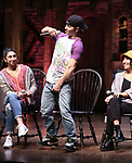 "Lauren Boyd, Thayne Jasperson and Christina Glur during the Q & A before The Rockefeller Foundation and The Gilder Lehrman Institute of American History sponsored High School student #eduHAM matinee performance of ""Hamilton"" at the Richard Rodgers Theatre on June 5, 2019 in New York City."