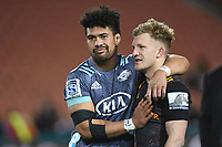 5th July 2020; Hamilton, New Zealand;  Damian McKenzie  and Ardie Savea at final whistle.<br />