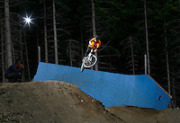 MTB slopestyle bicycle competition. The Extremesport Week, Ekstremsportveko, is the worlds largest gathering of adrenalin junkies. In the small town of Voss enthusiasts in a varitety of extreme sports come togheter every summer to compete and play. Norway..©Fredrik Naumann/Felix Features.