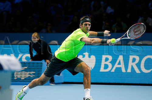 08.11.2012 London, England. Juan Martin Del Potro (ARG) in action against Janko Tipsarevic (SRB) during the Barclays ATP World Tour Finals from the 02 Arena. Del Potro won the match by a score 6-0,6-4