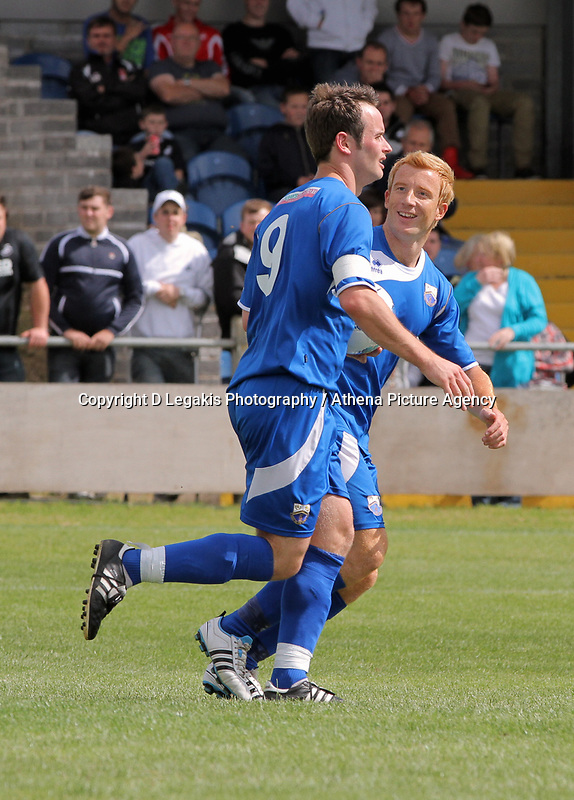 Pictured: Martin Rose of Port Talbot (C) celebrating his goal. Saturday 17 July 2011<br />