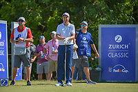 Ross Fisher (ENG) looks over his tee shot on 18 during Round 2 of the Zurich Classic of New Orl, TPC Louisiana, Avondale, Louisiana, USA. 4/27/2018.<br /> Picture: Golffile | Ken Murray<br /> <br /> <br /> All photo usage must carry mandatory copyright credit (&copy; Golffile | Ken Murray)