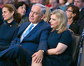 Prime Minister Benjamin Netanyahu of Israel and his wife, Sara, in the front row prior to his addressing the 2015 Jewish Federations of North America General Assembly at the Washington Hilton Hotel in Washington, DC on Tuesday, November 10, 2015.<br /> Credit: Ron Sachs / CNP