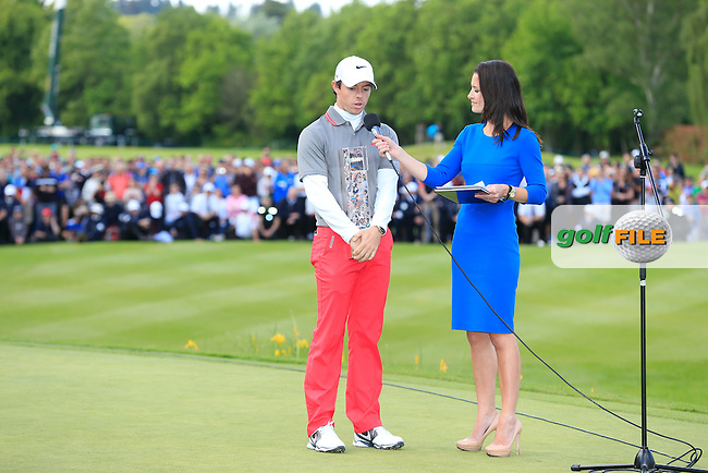 Rory MCILROY (NIR)who is the 2014 BMW PGA champion talks with Kirsty Gallacher from sky sports. The tournaments was played on the West Course, Wentworth Golf Club, Virginia Water, London.<br /> Picture: Fran Caffrey www.golffile.ie