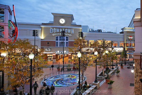 Downtown Silver Spring MD at night.