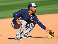 SURPRISE - March 2015: Brandon Macias of the Milwaukee Brewers during a spring training game against the Texas Rangers on March 15th, 2015 at Surprise Recreation Campus in Surprise, Arizona. (Photo Credit: Brad Krause)