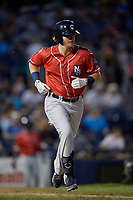 New Hampshire Fisher Cats Christian Williams (21) runs to first base during an Eastern League game against the Trenton Thunder on August 20, 2019 at Arm & Hammer Park in Trenton, New Jersey.  New Hampshire defeated Trenton 7-2.  (Mike Janes/Four Seam Images)