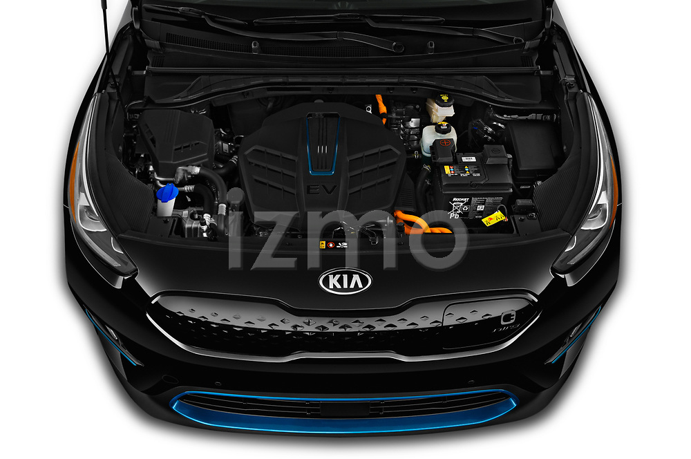 Car stock 2019 KIA Niro-EV  EX-Premium 5 Door Hatchback engine high angle detail view
