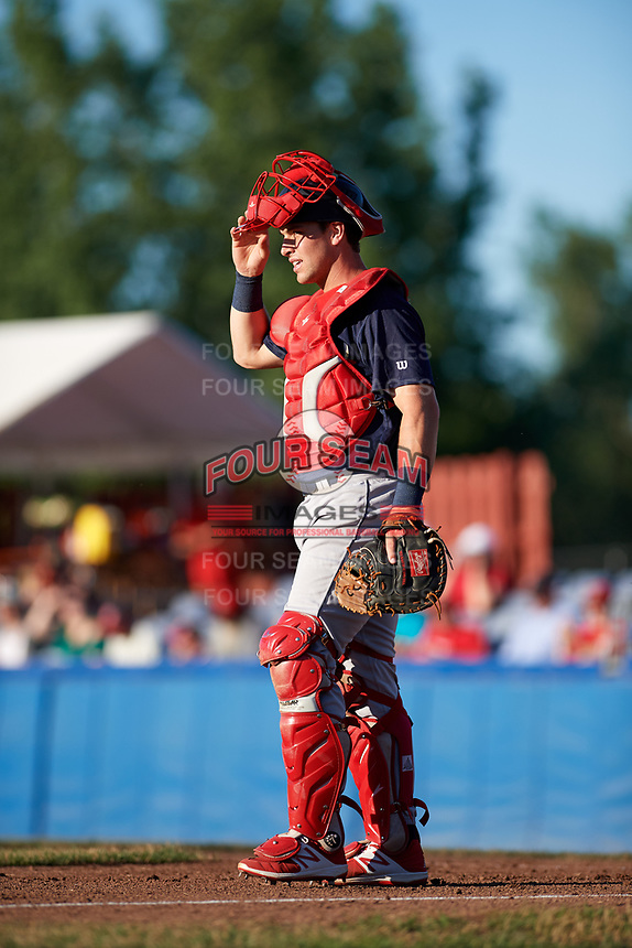 State College Spikes catcher Matt Duce (8) during a game against the Batavia Muckdogs on July 7, 2018 at Dwyer Stadium in Batavia, New York.  State College defeated Batavia 7-4.  (Mike Janes/Four Seam Images)