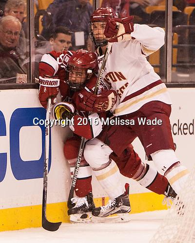 Luke Esposito (Harvard - 9), Steve Santini (BC - 6) - The Boston College Eagles defeated the Harvard University Crimson 3-2 in the opening round of the Beanpot on Monday, February 1, 2016, at TD Garden in Boston, Massachusetts.