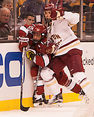 Luke Esposito (Harvard - 9), Steve Santini (BC - 6) - The Boston College Eagles defeated the Harvard University Crimson 3-2 in the opening round of the Beanpot on Monday, February 1, 2016, at TD Garden in Boston, Massachusetts.