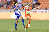 Houston, TX - Sunday Sept. 11, 2016: Brooke Elby, Kealia Ohai during a regular season National Women's Soccer League (NWSL) match between the Houston Dash and the Boston Breakers at BBVA Compass Stadium.